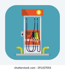 Modern flat design vector web icon on gasoline with modern gas station pump