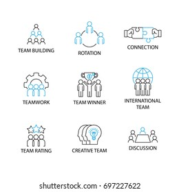 Modern Flat designed Icon set or Pictogram with word team building,rotation,connection,teamwork,team winner,international team,team rating,creative team,discussion.TEAM Management Concept.