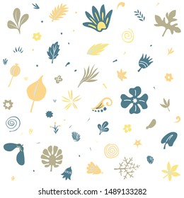 modern flat doodle style floral seamless pattern with many different plants and flowers design elements