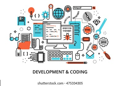 Modern flat editable line design vector illustration, concept of programming process, development software and coding, for graphic and web design