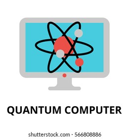 Modern flat editable vector line icon of future technology - quantum computer, for graphic and web design.