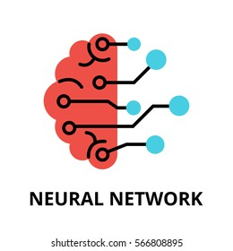 Modern flat editable vector line icon of future technology - neural network, for graphic and web design.