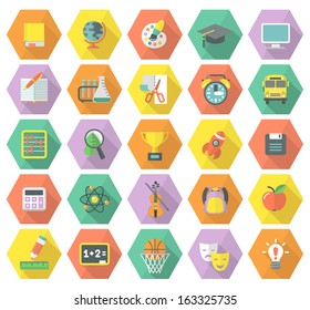 Modern flat education symbols in multicolored hexagons with long shadows