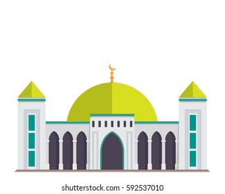 Modern Flat Elegant Islamic Mosque Building, Suitable for Diagrams, Map, Infographics, Illustration, And Other Graphic Related Assets