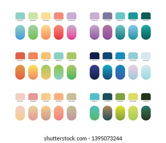 modern flat and gradient color swatches pallete