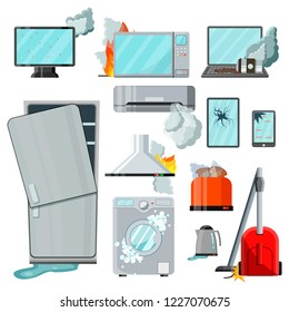 Modern flat home appliances consumer electronics with different damages,vector set.Broken household goods-laptop,mobile phone,tablet,monitor,microwave,refrigerator,washing machine,vacuum cleaner etc