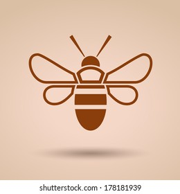 Modern flat honey bee icon, Vector illustration, Concept with icon