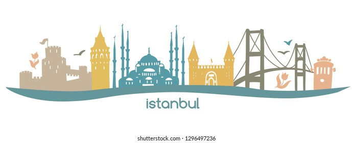 Modern flat horizontal vector illustration Istanbul with silhouette of famous turkish symbols: tower, bridge, gate, mosque in Turkey. Skyline banner in pastel colors isolated on white background.