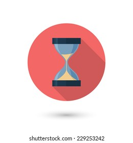 Modern flat hourglass icon with long shadow. Isolated on white background. Vector illustration, eps 10.