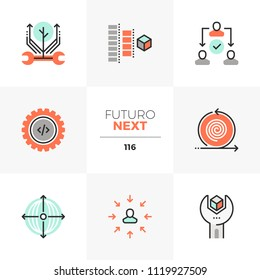 Modern flat icons set of agile development, project production process. Unique color flat graphics elements stroke line. Premium quality vector pictogram concept for web, logo, branding, infographics.
