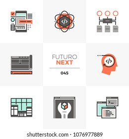Modern flat icons set of app development coding and prototyping. Unique color flat graphics elements with stroke lines. Premium quality vector pictogram concept for web, logo, branding, infographics.
