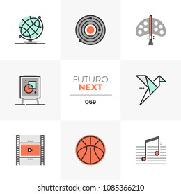 Modern flat icons set of artistic lessons, paper craft skill study. Unique color flat graphics elements with stroke lines. Premium quality vector pictogram concept for web, logo, branding, infographic