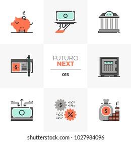 Modern flat icons set of banking services, wealth management account. Unique color flat graphics elements, stroke lines. Premium quality vector pictogram concept for web, logo, branding, infographics.