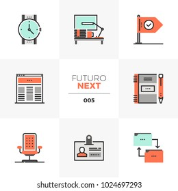 Modern flat icons set of business workflow, office workplace stuff. Unique color flat graphics elements with stroke lines. Premium quality vector pictogram concept for web, logo, branding, infographic