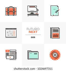 Modern flat icons set of business and office things, work schedule. Unique color flat graphics elements with stroke lines. Premium quality vector pictogram concept for web, logo, branding, infographic