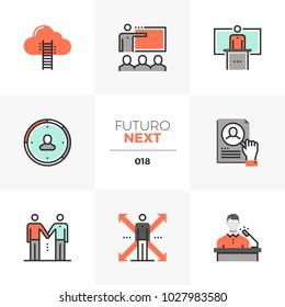 Semi-flat icons set of business training class, coach mentorship. Unique color flat graphics elements with stroke lines. Premium quality vector pictogram concept for web, logo, branding, infographics.