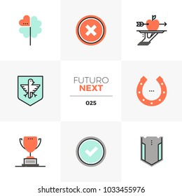 Modern flat icons set of business metaphor and winning lucky shot. Unique color flat graphics elements with stroke lines. Premium quality vector pictogram concept for web, logo, branding, infographic