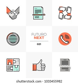 Modern flat icons set of business agreement and contract signing. Unique color flat graphics elements with stroke lines. Premium quality vector pictogram concept for web, logo, branding, infographics.
