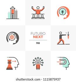 Modern flat icons set of business leader skills, personal development. Unique color flat graphics elements stroke lines. Premium quality vector pictogram concept for web, logo, branding, infographics.