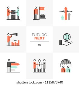 Modern flat icons set of business cooperation, competitive advantage. Unique color flat graphics elements stroke lines. Premium quality vector pictogram concept for web, logo, branding, infographics.