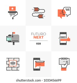 Modern flat icons set of buzz marketing, brand awareness effect. Unique color flat graphics elements with stroke lines. Premium quality vector pictogram concept for web, logo, branding, infographics.