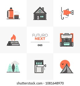 Modern flat icons set of camping fire place, outdoor nature trip. Unique color flat graphics elements with stroke lines. Premium quality vector pictogram concept for web, logo, branding, infographics.