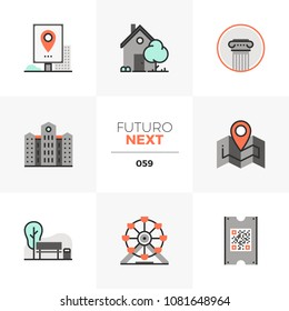 Modern flat icons set of city architecture, amusement park leisure. Unique color flat graphics elements with stroke lines. Premium quality vector pictogram concept for web, logo, branding, infographic