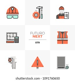 Modern flat icons set of civil engineering, construction site safety. Unique color flat graphics elements stroke lines. Premium quality vector pictogram concept for web, logo, branding, infographics.
