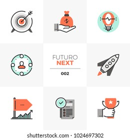 Semi-flat icons set of company startup, business goal and awards. Unique color flat graphics elements with stroke lines. Premium quality vector pictogram concept for web, logo, branding, infographics.