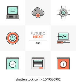 Modern flat icons set of computer service, malfunction problem fix. Unique color flat graphics elements with stroke lines. Premium quality vector pictogram concept for web, logo, branding, infographic
