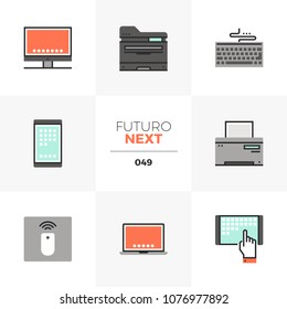 Modern flat icons set of modern computer devices, technology gadgets. Unique color flat graphics elements, stroke lines. Premium quality vector pictogram concept for web, logo, branding, infographics.