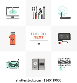 Modern flat icons set of computer upgrade service, installation tools. Unique color flat graphics elements stroke lines. Premium quality vector pictogram concept for web, logo, branding, infographics.