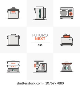 Modern flat icons set of cookware equipment, kitchen appliances. Unique color flat graphics elements with stroke lines. Premium quality vector pictogram concept for web, logo, branding, infographics.
