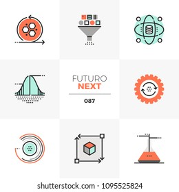 Modern flat icons set of data science technology, statistical analysis. Unique color flat graphics elements stroke lines. Premium quality vector pictogram concept for web, logo, branding, infographics