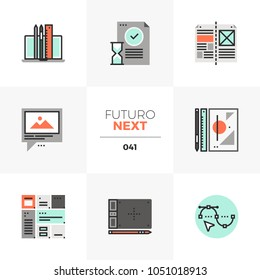 Modern flat icons set of design workflow, digital artist project. Unique color flat graphics elements with stroke lines. Premium quality vector pictogram concept for web, logo, branding, infographics.