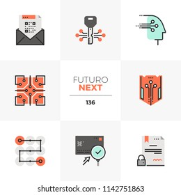 Modern flat icons set of distributed database security, cryptography tech. Unique color flat graphic element stroke line. Premium quality vector pictogram concept for web, logo, branding, infographics
