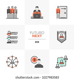 Semi-flat icons set of employee relations and personnel benefits. Unique color flat graphics elements with stroke lines. Premium quality vector pictogram concept for web, logo, branding, infographics.