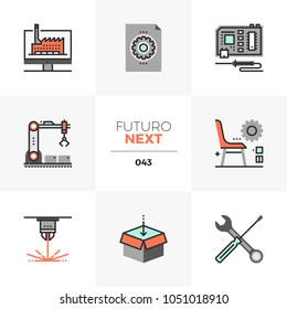 Modern flat icons set of fab lab development, digital production. Unique color flat graphics elements with stroke lines. Premium quality vector pictogram concept for web, logo, branding, infographics.