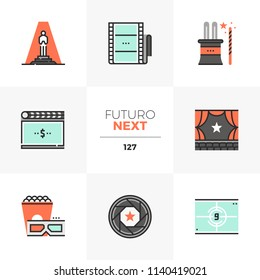 Modern flat icons set of film premiere, grand opening night ceremony. Unique color flat graphics elements stroke lines. Premium quality vector pictogram concept for web, logo, branding, infographics.
