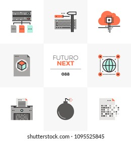 Modern flat icons set of general data protection regulation. Unique color flat graphics elements with stroke lines. Premium quality vector pictogram concept for web, logo, branding, infographics.