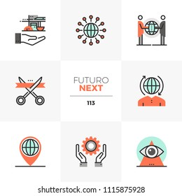 Modern flat icons set of global business cooperation, opening event. Unique color flat graphics elements with stroke line. Premium quality vector pictogram concept for web, logo, branding, infographic