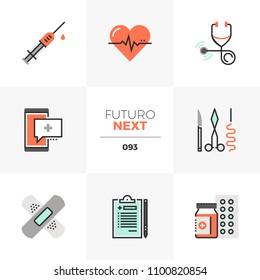 Modern flat icons set of healthcare service, doctor prescription. Unique color flat graphics elements with stroke lines. Premium quality vector pictogram concept for web, logo, branding, infographics.