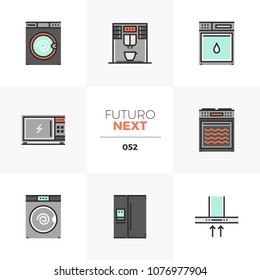 Modern flat icons set of home appliances, household electronics. Unique color flat graphics elements with stroke lines. Premium quality vector pictogram concept for web, logo, branding, infographics.