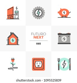 Modern flat icons set of home electricity, power charge station. Unique color flat graphics elements with stroke lines. Premium quality vector pictogram concept for web, logo, branding, infographics.
