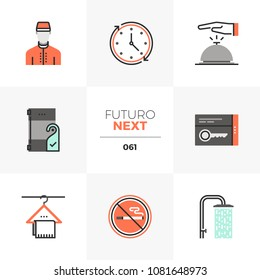 Modern flat icons set of hotel services, guest room facilities. Unique color flat graphics elements with stroke lines. Premium quality vector pictogram concept for web, logo, branding, infographics.