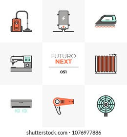 Modern flat icons set of household appliances, home electronics. Unique color flat graphics elements with stroke lines. Premium quality vector pictogram concept for web, logo, branding, infographics.
