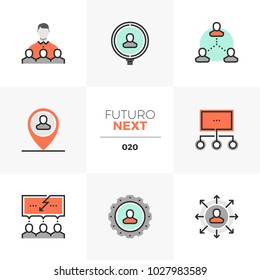 Semi-flat icons set of human resource management and recruitment. Unique color flat graphics elements with stroke lines. Premium quality vector pictogram concept for web, logo, branding, infographics.