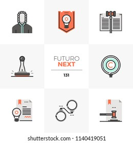 Modern flat icons set of invention patent law, court of justice. Unique color flat graphics elements with stroke lines. Premium quality vector pictogram concept for web, logo, branding, infographics.