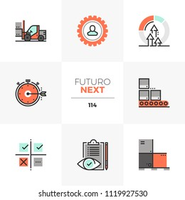 Modern flat icons set of lean manufacturing, quality control process. Unique color flat graphics elements  stroke lines. Premium quality vector pictogram concept for web, logo, branding, infographics.
