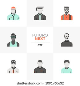 Modern flat icons set of male avatar diversity, various men character. Unique color flat graphics elements stroke lines. Premium quality vector pictogram concept for web, logo, branding, infographics.